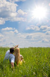 Attractive Couple Together On Meadow Stock Photos