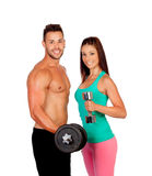 Attractive couple training Stock Photo