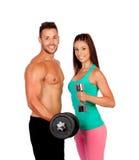 Attractive couple training Stock Photo