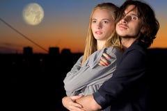 Attractive couple in twilight outdoor stock photo