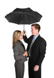 Attractive Couple Under Umbrella royalty free stock images