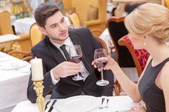 Attractive couple visiting luxury restaurant Stock Image