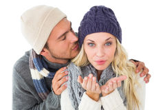 Attractive couple in winter fashion Royalty Free Stock Photo