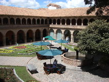 Attractive courtyard at an upscale hotel in Peru Royalty Free Stock Images