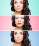 Attractive, curly brunette with flower alike golden headband wit Royalty Free Stock Photography