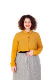 Attractive curvy girl with yellow shirt and red lips Stock Images