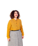 Attractive curvy girl with yellow shirt and red lips Stock Photo