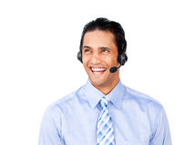 Attractive customer service agent with headset on Stock Images