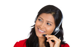 Attractive customer service representative. Closeup portrait of beautiful smiling adorable female customer representative business woman with phone headset royalty free stock photos
