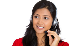 Attractive customer service representative. Closeup portrait of beautiful smiling adorable female customer representative business woman with phone headset Royalty Free Stock Image