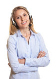 Attractive customer service woman with crossed arms Stock Photo