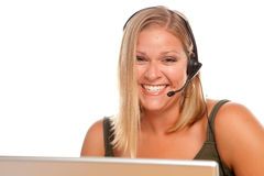 Attractive Customer Support Woman Smiles Stock Photography
