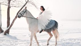 Attractive cute dark-haired lady in a long gray vintage dress with bare shoulders sits astride a horse, confidently