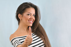 Attractive cute happy successful young woman enjoying life Stock Image