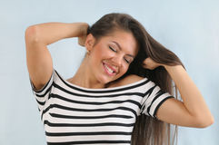 Attractive cute happy young emotional woman enjoying life Royalty Free Stock Images
