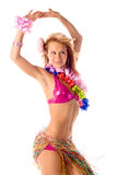 Attractive dance girl in hawaiian costume Stock Photos