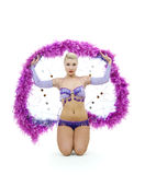 Attractive dancer with feather ring Royalty Free Stock Images