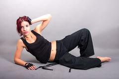 Attractive dancer. Portrait of attractive dancer. girl laying down on the floor stock photos