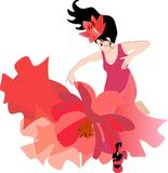 Attractive dancer in a red dress with a hem in the form of a cosmos flower and a lily flower as a crown, dancing flamenco. Isolated on a white background royalty free illustration