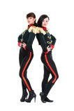 Attractive dancers in stage costumes Royalty Free Stock Images