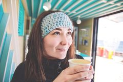 Girl drinks coffee. royalty free stock photo