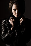 Attractive Dark Haired Girl in Leather Jacket Royalty Free Stock Photography