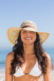 Attractive dark haired woman wearing straw hat posing Royalty Free Stock Photo