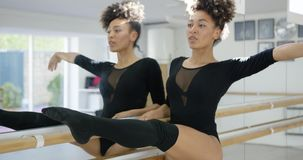 Attractive dedicated young dancer practicing stock video footage
