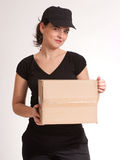 Attractive delivery girl Royalty Free Stock Images