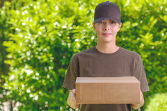Attractive delivery woman with a cardboard box Stock Photography