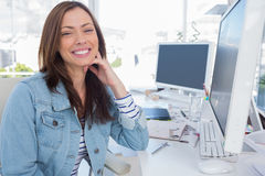 Attractive designer in creative office Royalty Free Stock Image