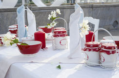 Attractive dining table setting royalty free stock image