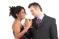 Attractive diverse couple celebrating Stock Photo