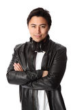 Attractive DJ in leather jacket Royalty Free Stock Image