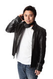 Attractive DJ in leather jacket Royalty Free Stock Images