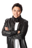 Attractive DJ in leather jacket Royalty Free Stock Photos