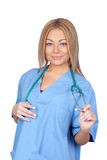 Attractive doctor with blue uniform Stock Photo