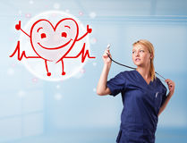 Attractive doctor with happy red smiling heart Stock Images