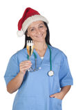 Attractive doctor woman with Christmas cup Royalty Free Stock Photo