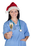 Attractive doctor woman with Christmas cup Royalty Free Stock Photos