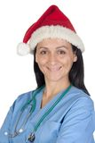 Attractive doctor woman with Christmas cup Royalty Free Stock Images