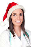Attractive doctor woman with Christmas cup Stock Photography