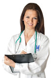Attractive doctor woman doing report Stock Photo