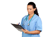 Attractive doctor woman signing Stock Photo