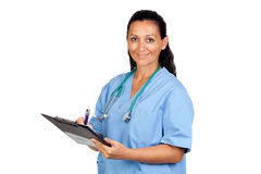 Attractive doctor woman signing Royalty Free Stock Images