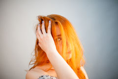 Attractive dreammy portrait of redhead woman in soft focus Royalty Free Stock Image