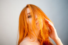 Attractive dreammy portrait of redhead woman in soft focus Royalty Free Stock Images