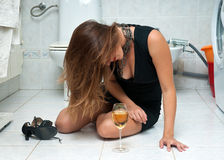 Attractive drunk woman with wine Royalty Free Stock Images
