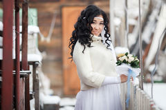 Attractive East Asian beautiful brunette bride in Stock Photography