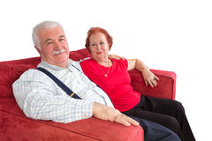 Attractive elderly couple smiling in satisfaction Stock Photography